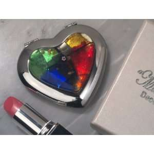 Wedding Favors Murano Art Deco Collection Heart Compact Mirror (Set of