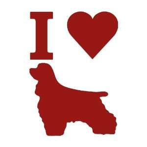 I Love Cocker Spaniels BURGANDY Vinyl window decal sticker
