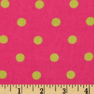 44 Wide Kaufman 21 Wale Cool Cords Large Dots Hot Pink