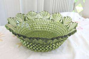 GORGEOUS VINTAGE FENTON FAN HOBNAIL GREEN LARGE BOWL