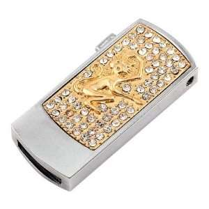4GB USB Flash Drive Memory Disk Rectangle Style 3   Gold