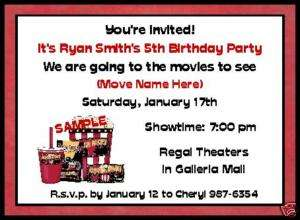 MOVIE NIGHT BIRTHDAY PARTY PERSONALIZED INVITATIONS
