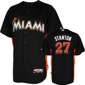 Giancarlo Stanton BP Jersey Miami Marlins #27 Black Authentic Cool