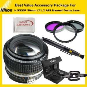 com Nikon Nikkor AIS 50mm f/1.2 Manual Focus Lens Kit Includes Nikon