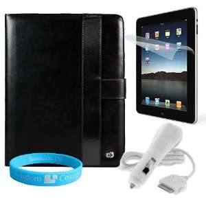 Black Steel Wallet Carrying Case for Apple iPad + Anti