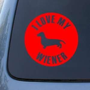 LOVE MY WIENER   Dog Dachshund   Vinyl Car Decal Sticker #1622  Vinyl