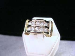 MENS 14K WHITE & YELLOW GOLD 1.04 CTTW. CHANNEL SET DIAMOND RING 10