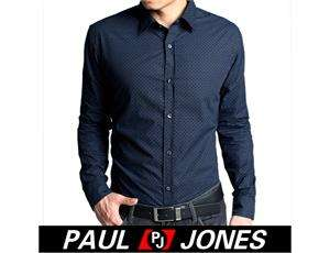 PJ Mens Luxury Fashion Casual strechy slim fit Formal/dress shirts