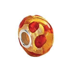 Kera Sterling Silver Gold & Orange Murano Glass Bead Kera Beads