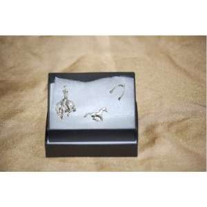 Pewter Pin Badges Cowboy Rodeo Running Horse Spurs