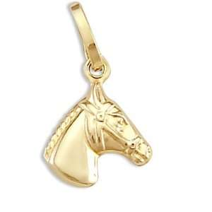 Horse Pendant 14k Yellow Gold Stallion Head Charm Jewel
