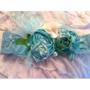Pixie Aqua Lace Rosette Girls Headband Beauty