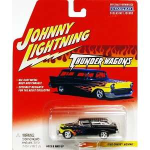 Johnny Lightning 1956 Chevy Nomad Black with Flames Toys