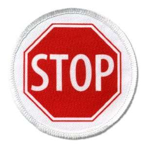 SERVICE DOG Red STOP SIGN Symbol 3 inch Round Sew on Patch