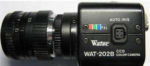 WATEC WAT 202B CCD Color Camera PAL Avenir 12mm Lens