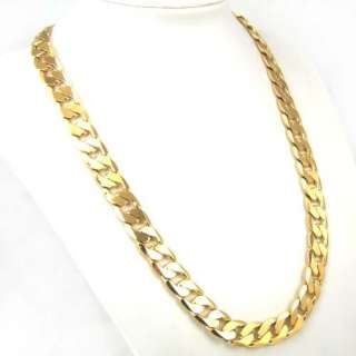 24K YELLOW GOLD FILLED MENS NECKLACE 24CURB CHAINS 106g GF JEWELRY