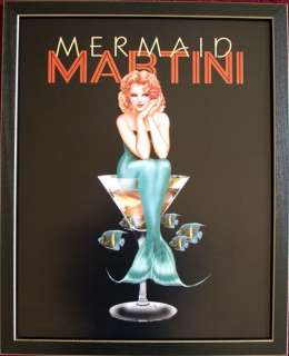 Mermaid Martini Ralph Burch Pin Up Girl Art Framed