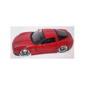 24 Scale Diecast Big Time Muscle 2006 Chevy Corvette Z06 in Color Red