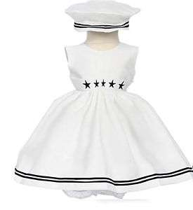 NEW WHITE NAUTICAL SAILOR DRESS FOR GIRL S M L 2T 4T