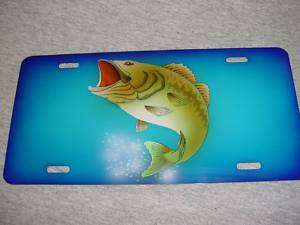 BASS FISH FISHING Airbrushed CAR TAG AUTO LICENSE PLATE