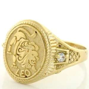 10k Solid Yellow Gold Zodiac CZ Ring   Leo Jewelry