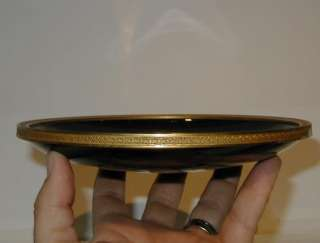 Antique Moser Black Amethyst Glass Gilt Bronze Tray NR