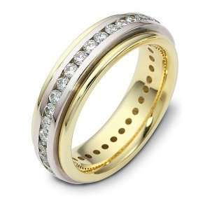 18 Karat Two Tone Gold SPINNING Diamond Eternity Band Ring   10.5