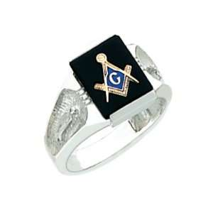 Mens Sterling Silver Masonic Freemason Mason Ring an Onyx Stone (Size