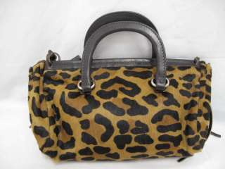 Prada Brown Leopard Print Pony Hair Leather Trim/Handle Small Bag
