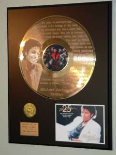 Michael Jackson Thriller Laser Etched Words 24k Gold LP R&R Pop Gift