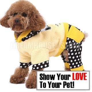 Dog Hoodie Fleece Jumpsuit Coat Clothes anysz Yellow