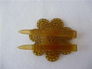 Antique Celluloid HAIR COMB CLIP Flower RHINESTONES Art Deco Era TLC