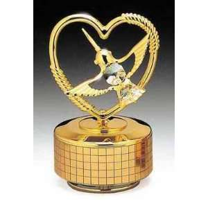 Hummingbird Heart Gold Swarovski Crystal Music Box