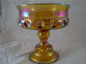 INDIANA CARNIVAL GLASS DISH,COMPOTE,BOWLS,PEDESTAL FOOT