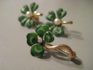 Antique 14k Gold & Enamel 4 Leaf Clover Earrings & Pin