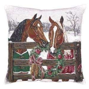 Horses Holiday Decorative Christmas Throw Pillow 17 x 17