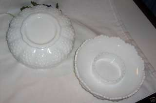 FENTON HOBNAIL WHITE MILK GLASS CANDLE BOWL