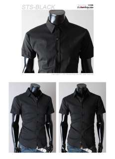 THELEES (STS) Mens slim fit basic dress shirts BLACK