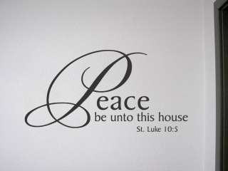 PEACE BE ONTO THIS HOUSE Vinyl Wall Quotes Decal Bible Verse Sign Luke
