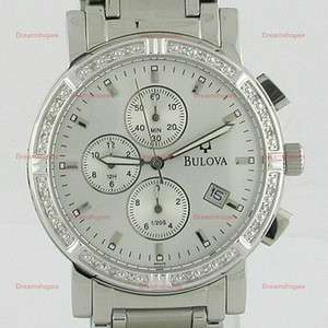 Bulova 24 Diamonds White Dial Chrono Mens Watches 96E03
