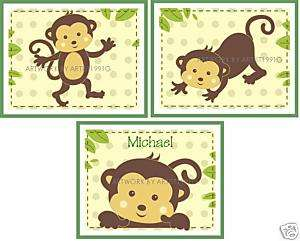 Set 3 POP MONKEY MONKEYS NURSERY art new PERSONALIZED