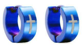 MENS Stainless Steel CROSS Hoop Earrings Blue 8mm NEW
