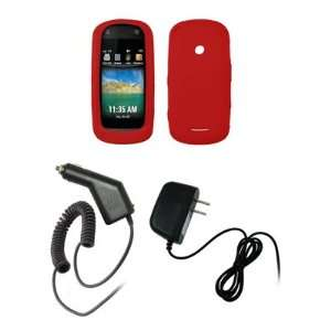 Motorola Crush   Red Soft Silicone Gel Skin Cover Case + Rapid Car