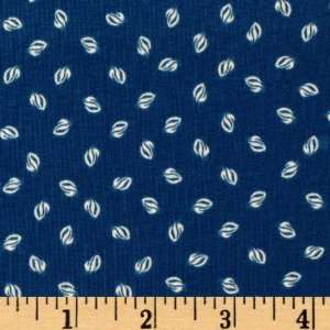 Wide Bistro Leaf Dots Blue Fabric By The Yard Arts, Crafts & Sewing