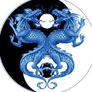 Yin Yang Dragon 2 Round Sticker