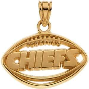 14k Yellow Gold Kansas City Chiefs NFL Football Pendant