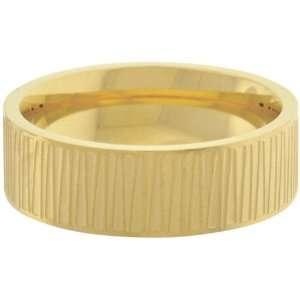 Inox Jewelry Mens Large Slash Gold pvd 316L Stainless Steel Band Ring
