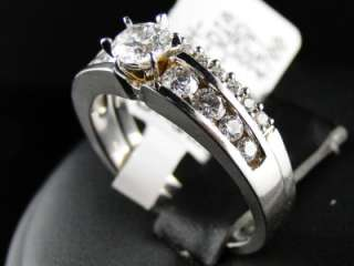 WHITE GOLD DIAMOND ROUND CUT ENGAGEMENT WEDDING RING BAND BRIDAL SET