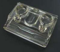ANTIQUE ENGLAND ART DECO GLASS INKWELL DESK ORGANIZER