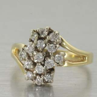 Fine Vintage 14K Yellow White Gold Diamond Cluster Ring